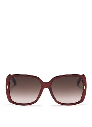 Main View - Click To Enlarge - Gucci - Logo temple pearlescent acetate oversize square sunglasses