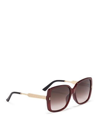 Figure View - Click To Enlarge - Gucci - Logo temple pearlescent acetate oversize square sunglasses