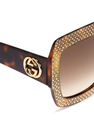 Detail View - Click To Enlarge - Gucci - Rhinestone pavé tortoiseshell acetate oversize square sunglasses