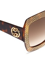 Rhinestone pavé tortoiseshell acetate oversize square sunglasses