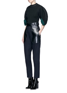 TOGA ARCHIVESCrisscross faux leather belt wool blend pants