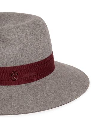 Detail View - Click To Enlarge - Maison Michel - 'Virginie' logo herringbone band rabbit furfelt hat