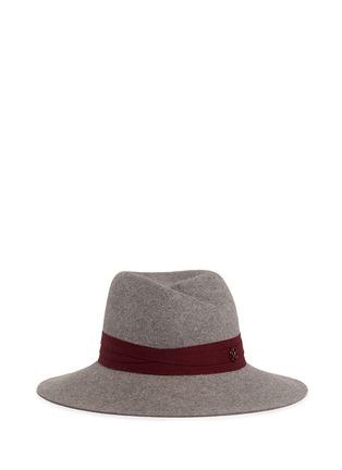 Main View - Click To Enlarge - Maison Michel - 'Virginie' logo herringbone band rabbit furfelt hat