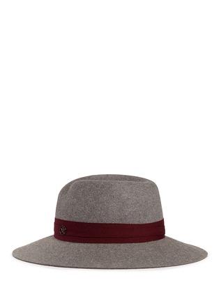 Figure View - Click To Enlarge - Maison Michel - 'Virginie' logo herringbone band rabbit furfelt hat