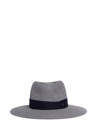 Main View - Click To Enlarge - Maison Michel - 'Charles' logo herringbone band rabbit furfelt hat