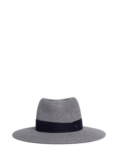 Maison Michel 'Charles' logo herringbone band rabbit furfelt hat