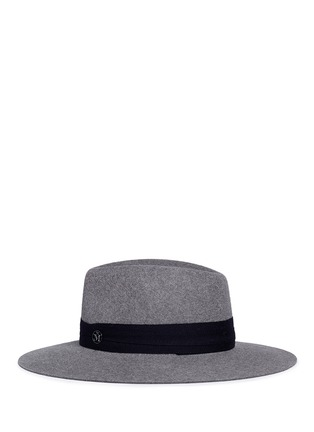Figure View - Click To Enlarge - Maison Michel - 'Charles' logo herringbone band rabbit furfelt hat