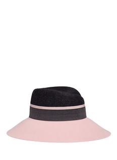 Maison Michel'Rose' colourblock rabbit furfelt cloche hat