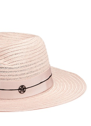 Detail View - Click To Enlarge - Maison Michel - 'Virginie' petersham band canapa straw hat