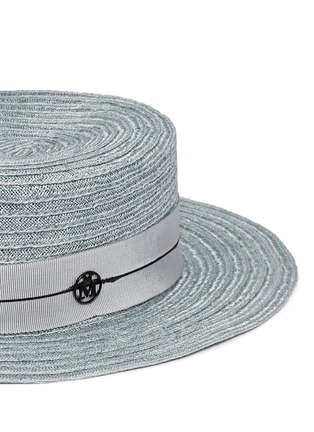 Detail View - Click To Enlarge - Maison Michel - 'Kiki' petersham band canapa straw boater hat
