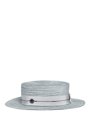 Figure View - Click To Enlarge - Maison Michel - 'Kiki' petersham band canapa straw boater hat