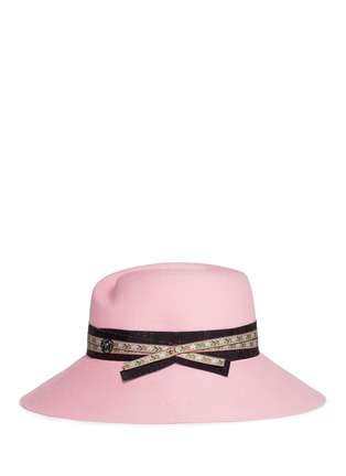 Figure View - Click To Enlarge - Maison Michel - 'Rose' floral ribbon hare furfelt hat
