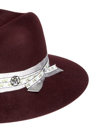 Detail View - Click To Enlarge - Maison Michel - 'Henrietta' floral ribbon hare furfelt fedora hat