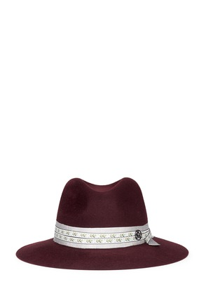 Main View - Click To Enlarge - Maison Michel - 'Henrietta' floral ribbon hare furfelt fedora hat