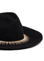 Zircon pavé spike fringe felt fedora hat