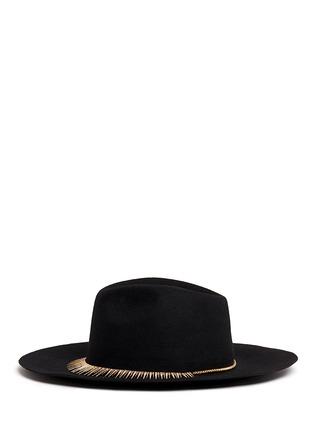 Venna-Zircon pavé spike fringe felt fedora hat