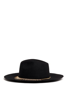 VennaZircon pavé spike fringe felt fedora hat