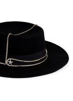 Embellished star chain wool felt boater hat