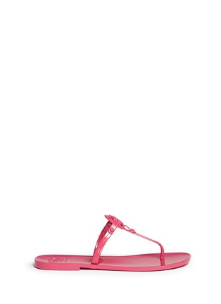 Main View - Click To Enlarge - Tory Burch - ''Colori' logo jelly thong sandals