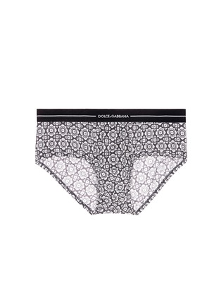 Main View - Click To Enlarge - Dolce & Gabbana - 'Brando' tile print cotton briefs
