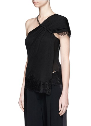 Givenchy - Curb chain neck lace trim one-shoulder knit top