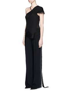 GIVENCHY Curb chain neck lace trim one-shoulder knit top