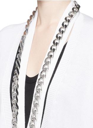 细节 - 点击放大 - GIVENCHY - 链条搭带混棉针织长外套