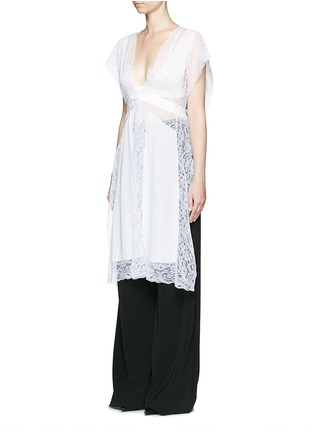 Front View - Click To Enlarge - Givenchy - Silk crepe de Chine panel lace dress vest
