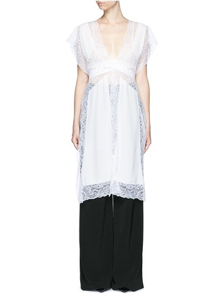 Main View - Click To Enlarge - Givenchy - Silk crepe de Chine panel lace dress vest