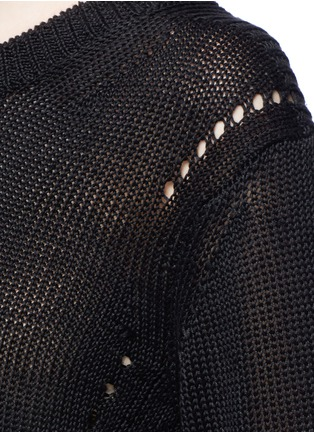 Detail View - Click To Enlarge - Acne Studios - 'Phora Chunky' open weave stripe linen sweater