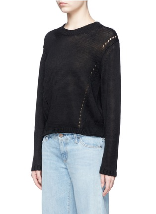 Front View - Click To Enlarge - Acne Studios - 'Phora Chunky' open weave stripe linen sweater