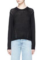 'Phora Chunky' open weave stripe linen sweater