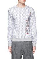 Cable knit print embroidered sweatshirt