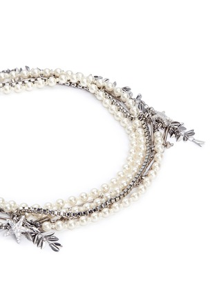 Detail View - Click To Enlarge - Venna - Crystal star faux pearl chain link leaf necklace