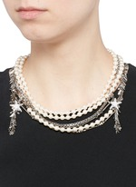 Crystal star faux pearl chain link leaf necklace