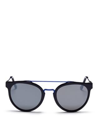 Main View - Click To Enlarge - SUPER - 'Giaguaro B2B' metal bridge acetate sunglasses