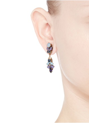 Figure View - Click To Enlarge - Erickson Beamon - 'I Do' leaf stone drop earrings