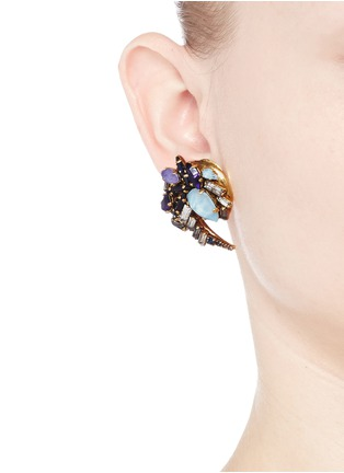 Figure View - Click To Enlarge - Erickson Beamon - 'Lady of the Lake' Swarovski crystal swirl earrings
