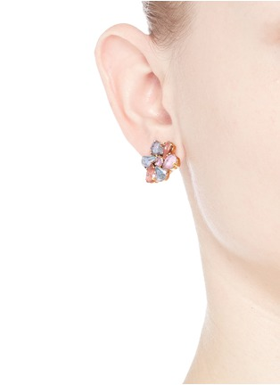 Figure View - Click To Enlarge - Erickson Beamon - 'Botanical Garden' Swarovski crystal floral earrings