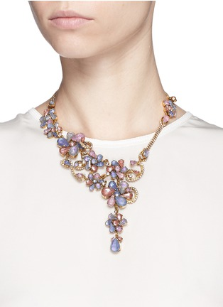 Figure View - Click To Enlarge - Erickson Beamon - 'Botanical Garden' Swarovski crystal floral necklace