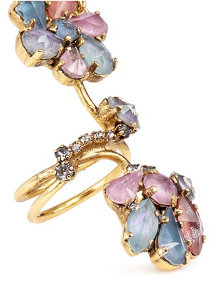 Erickson Beamon-'Botanical Garden' Swarovski crystal double link ring