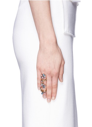 Erickson Beamon - 'Botanical Garden' Swarovski crystal double link ring