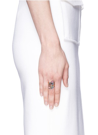 Figure View - Click To Enlarge - Erickson Beamon - 'Lady of the Lake' Swarovski crystal swirl ring