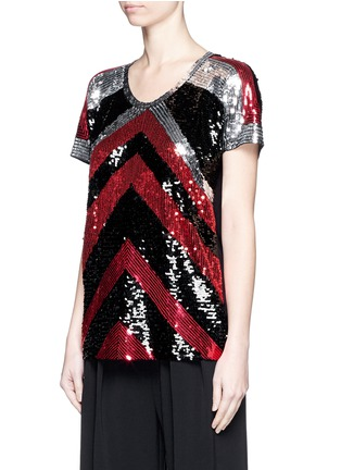 Front View - Click To Enlarge - Lanvin - Sequin chevron jersey T-shirt