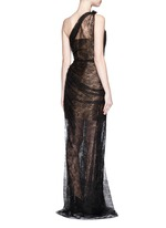 Gathered chantilly lace one-shoulder bustier gown