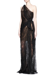 LANVIN Gathered chantilly lace one-shoulder bustier gown