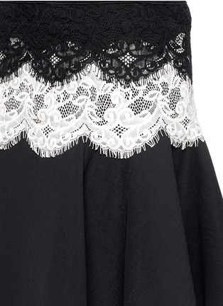 Detail View - Click To Enlarge - Lanvin - Lace appliqué neoprene flare skirt