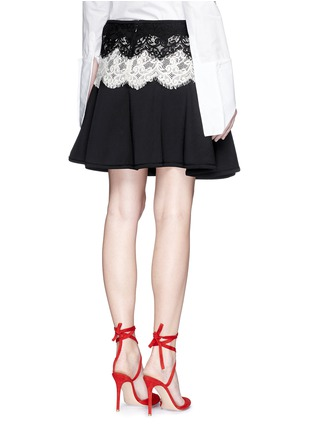 Back View - Click To Enlarge - Lanvin - Lace appliqué neoprene flare skirt
