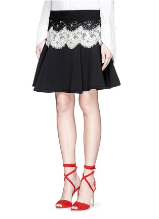 Front View - Click To Enlarge - Lanvin - Lace appliqué neoprene flare skirt