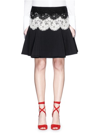 Main View - Click To Enlarge - Lanvin - Lace appliqué neoprene flare skirt